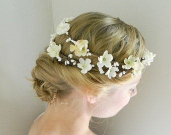 Cherry Blossom Double Flower Crown - White Ivory Bridal - Rustic Weddings