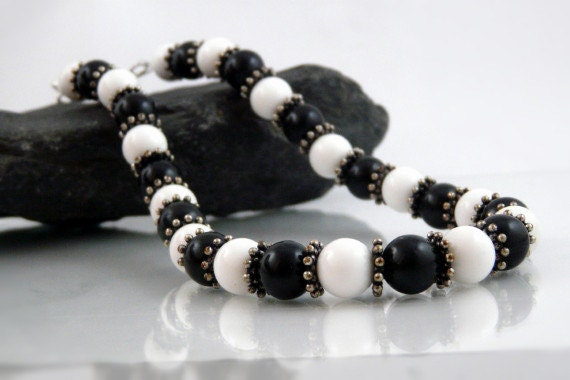 Classic Black and white beaded necklace Handmade by Beadtrisslane READY to SHIP  OOAK fun chunky