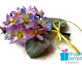 Hand painted silk violets corsage, fabric  violets brooch