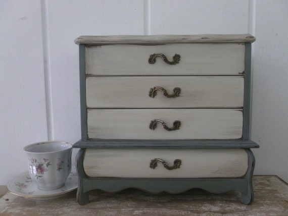 Large Grey and White Upcycled Jewelry Box