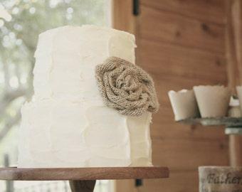 Burlap Roses - Rustic Wedding Cake Decoration - Table Confetti - Burlap Banner - Hair Clip