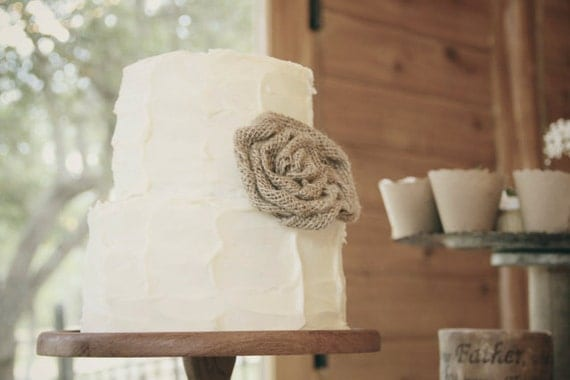 Burlap Roses - Rustic Wedding Cake Decoration - Table Confetti - Burlap Banner - Hair Clip