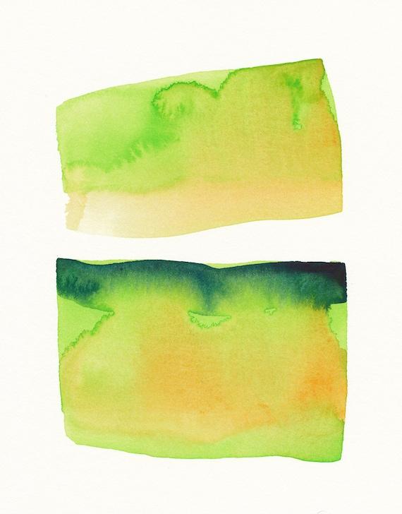 mirroring greens with orange original watercolor painting
