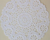 20 White Paper Doilies, Medallion Lace Design, 8 inch