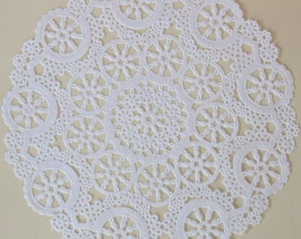 20 White Paper Doilies, Medallion Lace Design, 8 inch