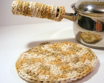 Handmade Cotton Potholder and Pan Handle Holder, Kitchen Crochet Potholder and Hot Pad Place Mat set of 2