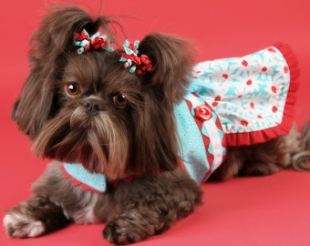 SUMMER:  Aqua and Red Daisies DOG DRESS
