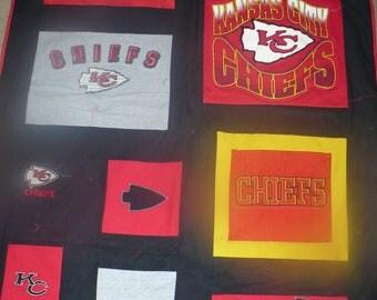 Kansas KC Chiefs Tshirt Quilt / Throw