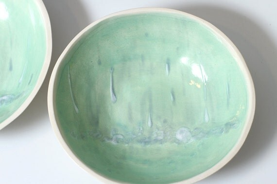 Rain Bowl 3- Landscape -Turquoise, Blue and White pottery Ceramic Bowl 6 1/2 inches - One of a kind Snack Bowl - ready to ship