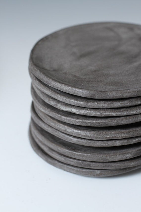 Charcoal Stoneware Side Plates Small Plates 5 Inches Wide