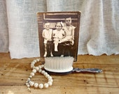 Silver Baby Hairbrush with Vintage Picture of Three Children