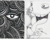 7 Sticky B&W Hand Drawn Stickers