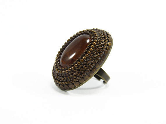 Costume Fashion Ring - Boho Bohemian Unique Rings - Agate Gemstone with Polymer Clay Unique Chunky Adjustable Big Ring - Rings for Women