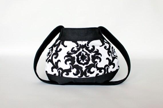 "SALE - Hobo Handbag - Art Deco Print - Birdbags ""Chickadee"" Purse - Black and White - FREE SHIPPING"