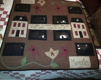 Photo Memory Quilt Saltbox Houses Folkart Flowers Holds 8 Pictures