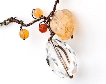 Citrine Gemstone Pendant Necklace, Yellow and Orange, Nature Jewelry, Fall Jewelry, gift for her under 35 dollars