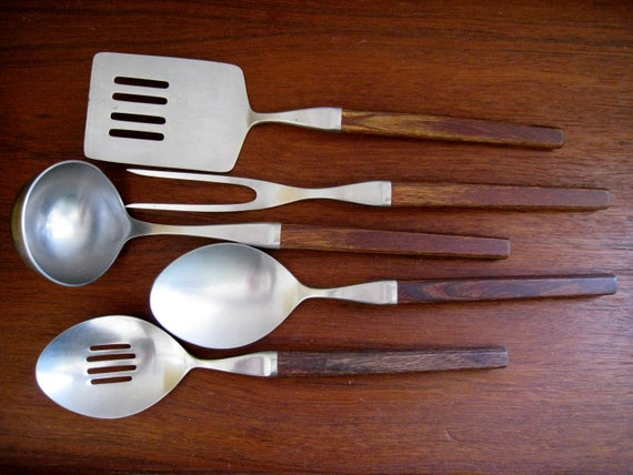 Mid Century Danish Modern forged stainless steel cooking utensils wooden handles Ecko