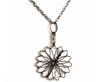 Copper necklace with wire flower