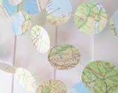 Vintage World Map Garland,10ft long,Map Decor,Wedding Decor,Map Bunting,Streamer,Photo Prop,Map Bridal Shower,Map Decor