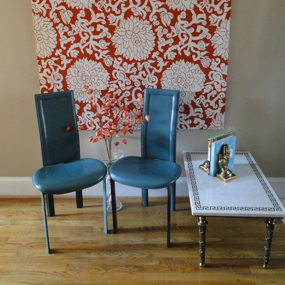 Vintage Italian Leather Cattelan Italia Peacock Blue Chairs Modern Sleek Turquoise Eclectic Teal Dining Seating Mid Century