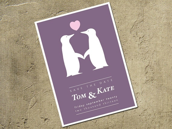Wedding and/or Engagement Save The Date Penguin Design Card. Personalized For You.