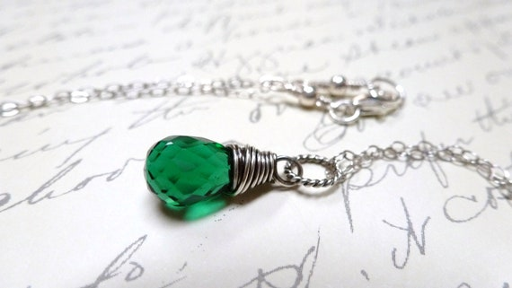 Emerald Green Quartz Necklace / May Birthstone / Sterling Silver / Wire Wrapped / SimplyJoli / Lush Green