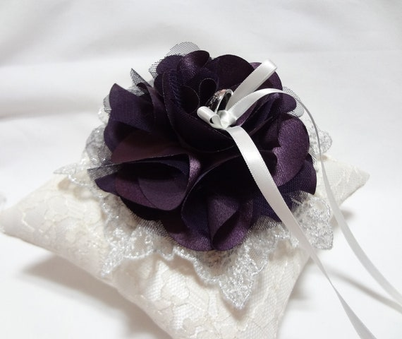 Purple wedding ring pillow - deep purple satin tulle bloom and silver lace on Ivory lace ring pillow