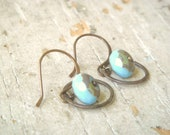 THE SKY ABOVE--Small Oxidized Brass Hoops with Sky Blue Picasso Czech Glass