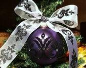 Purple Damask Flocked Christmas Ornament embellished with swarovski crystals