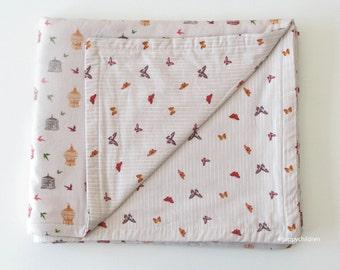 Baby blanket, earth tones cotton, reversible
