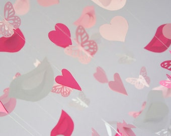 Heart Nursery Decor- Nursery Mobile with Hearts Birds & Butterflies in Pinks and White