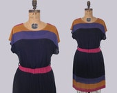 vintage 80s sheer stripe dress : vintage get up and get down dress