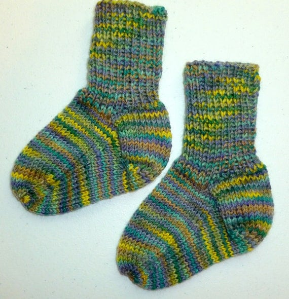 Hand Knit Toddlers Wool Socks - Opal Sock Yarn (O-075)