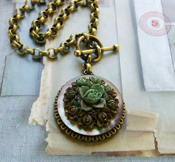 Carved Flower, Artisan Jewelry, Carved Floral and Mother-of-Pearl Pendant Necklace, Button Jewelry