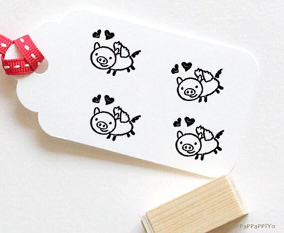 Pig & Love Rubber Stamp