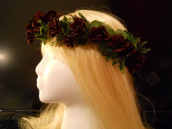 Flower Crown, Head Wreath, Black, Rose, Weddings, Gothic, Goth, Halloween, Day of the Dead, dia de los muertos, Costume, Witch, Flower Girl