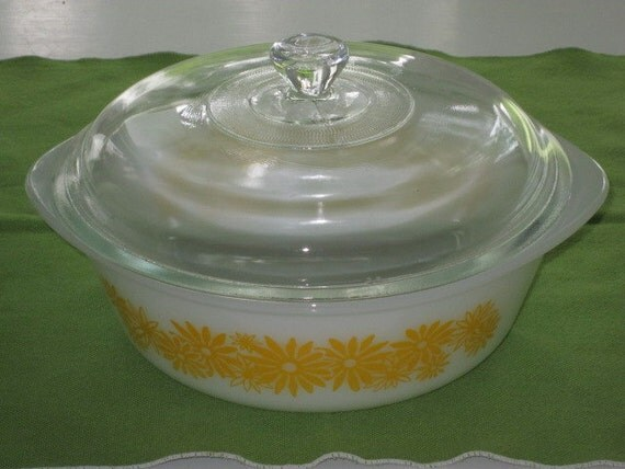 Vintage White Casserole Dish Yellow Flowers and Clear Glass Lid