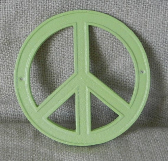 Peace Sign Wall Decor Metal : Peace sign wall art green cast iron by juxtapositionsc
