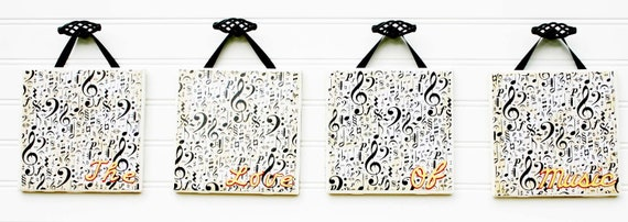 "Ceramic and Pottery, Ceramic Tiles, Wall Hanging, Ceramic Sign, Music Notes, Home Decor -  ""The Love Of Music"" Set of 4"
