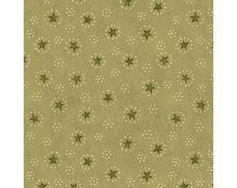 SALE / Christmastime / Stars dots circles / Green / Henry Glass / fat quarter