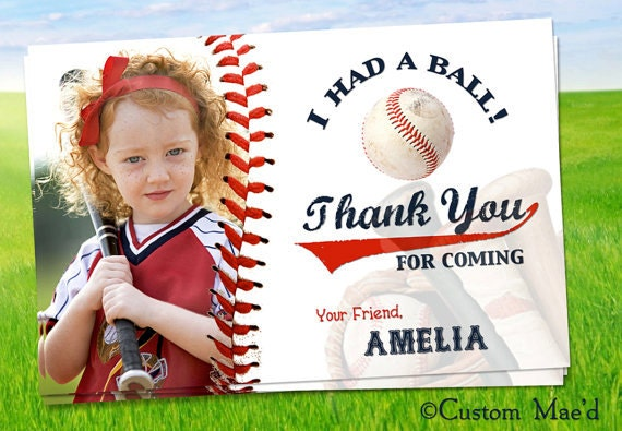Items similar to Baseball Photo Thank You Card, Baseball Photo ...