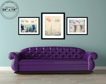 New York City - Large Wall Prints - set of 3 photographs - Vintage New York - Balloons over the City