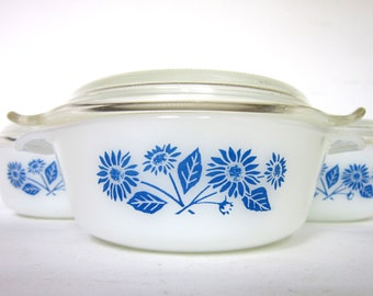 Vintage Cornflower Blue Casserole Set, 3 Fire King Baking Dishes, Retro RV Kitchen