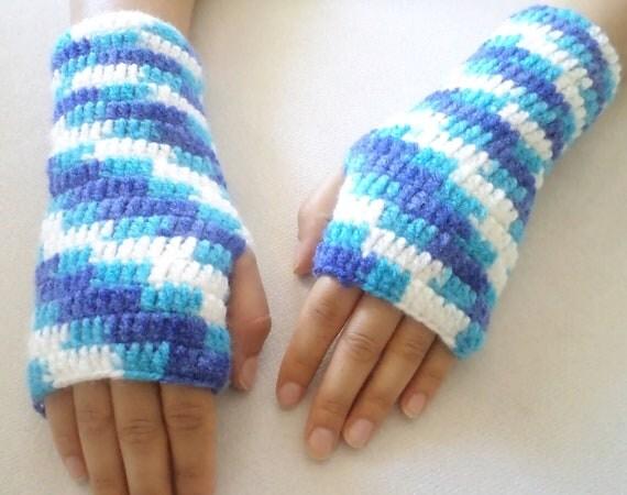 Gloves, Fingerless Blue and White hand crochet  gloves, new trends. Handmade Gifts.