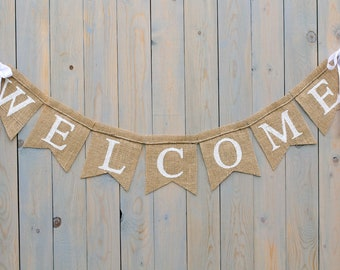 WELCOME- Burlap Banner - Photography prop HEARTS- garland