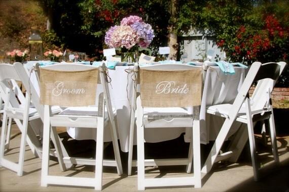 Burlap Wedding Chair signs - BRIDE & GROOM chair signs - Mr and Mrs chair signs - Wedding chair burlap banner