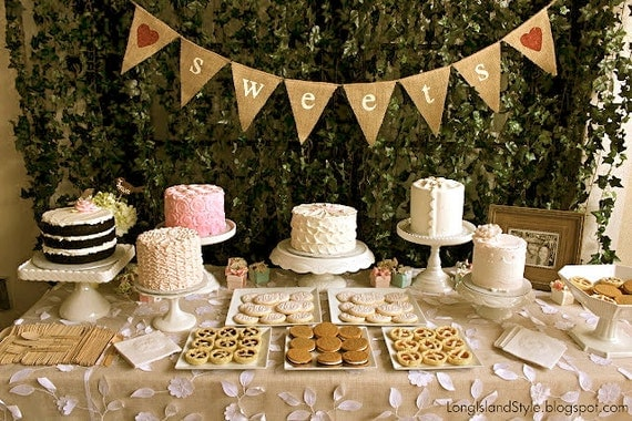 SWEETS Burlap Banner Wedding Reception Dessert By Butterflyabove