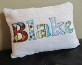 Personalized Name Pillow Cover- Applique on Chenille 12 x 16