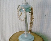 Jewelry Holder - Shabby Chic Blue and Ivory