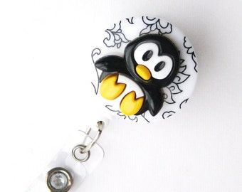 Sweet Baby Penguin - Fun Retractable Badge Reel - Cute Badge Holder - Decorative Badge Reels - Peds RN Badge - Teacher Lanyard - BadgeBlooms